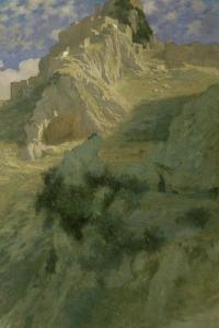 Village perché sur un pic rocheux by Ernest Antoine Auguste Hébert