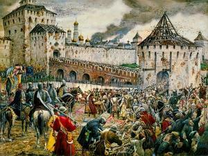 The Expulsion of Polish Invaders from the Moscow Kremlin, 1612 by Ernest Ernestovich Lissner