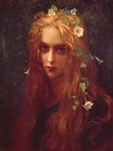 Face of a Young Girl with Flowers in Her Hair (Ophelia), 1876 by Ernest Hébert