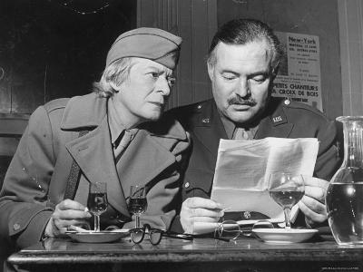 Ernest Hemingway and Janet Flanner-David Scherman-Premium Photographic Print
