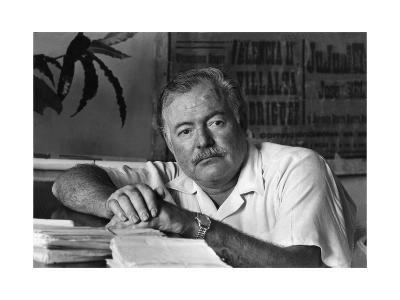 Ernest Hemingway in His Office--Photographic Print
