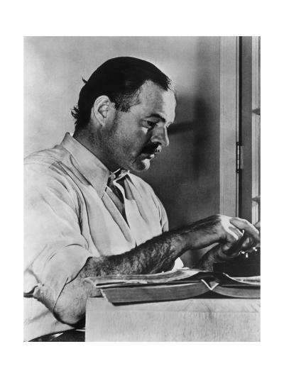 Ernest Hemingway Typewriting--Photographic Print