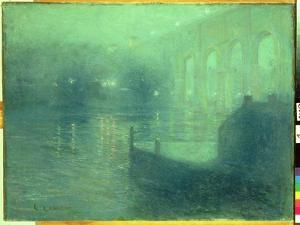 Harlem River at Night, Blue Reflection by Ernest Lawson