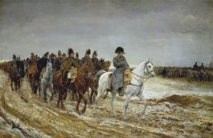 Napoleon on Campaign Followed by Marshals Ney and Berthier, Generals Drouot, Gourgaud and Flahaut by Ernest Meissonier