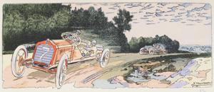 Arthur Duray in His Lorraine-Dietrich Competing in the Ardennes Rally in 1906, c.1910 by Ernest Montaut