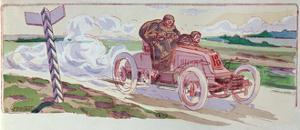 Henri Fournier in His Mors Competing in the Paris-Berlin Rally in 1901, c.1910 by Ernest Montaut