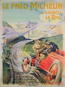 Poster Advertising 'Michelin Tyres are Faster Than Rail!' by Ernest Montaut