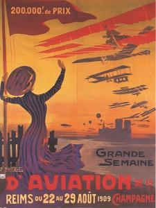 Woman Hails Aviation Week In Champagne, France by Ernest Montaut