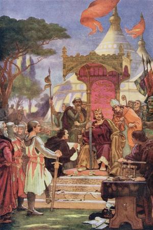 King John (1167-1216) at the Signing of the Magna Carta, 15th June 1215, Illustration from…