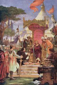 King John (1167-1216) at the Signing of the Magna Carta, 15th June 1215, Illustration from… by Ernest Normand