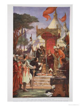 King John Signs the Magna Carta, 15 June 1215, Illustration from The History of the Nation
