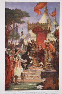 King John Signs the Magna Carta, 15 June 1215, Illustration from The History of the Nation by Ernest Normand