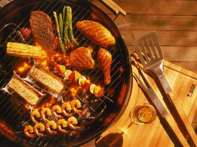 Vegetables, Fish, Poultry, and Red Meat on a Grill