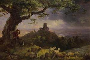 The Ruin of Kamaik in Bohemia in Thunderstorm, Ca, 1852 by Ernst Ferdinand Oehme