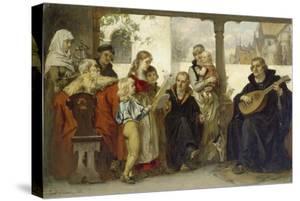 Martin Luther Im Kreise Seiner Familie Musizierend (Mit Cranach Und Melanchthon) by Ernst Hildebrandt