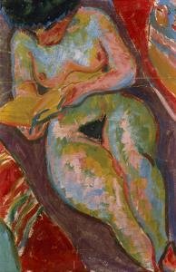 Female Nude (Reading); Weiblicher Akt (Lesend) by Ernst Ludwig Kirchner