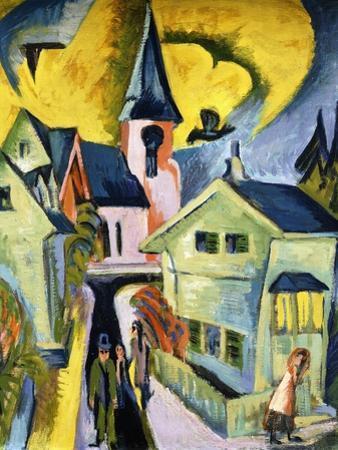 Konigstein with Red Church; Konigstein Mit Roter Kirche, 1916 by Ernst Ludwig Kirchner