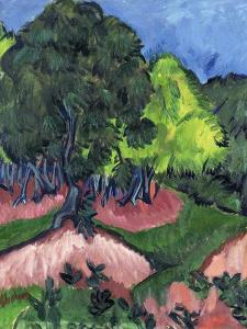 Landscape with Chestnut Tree; Landschaft Mit Kastanienbaum, 1913 by Ernst Ludwig Kirchner