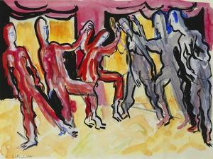 Mary Wigman Dance Group (Recto); Tanzgruppe Mary Wigman (Recto), 1926 by Ernst Ludwig Kirchner