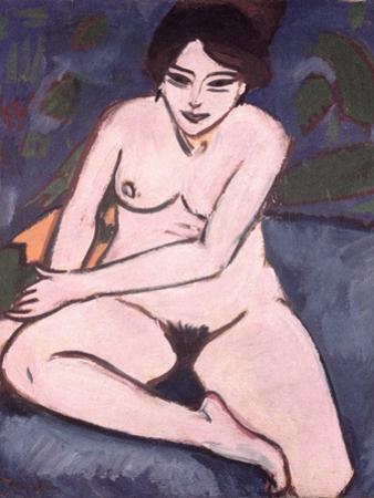 Model on Blue Ground, 1906 by Ernst Ludwig Kirchner