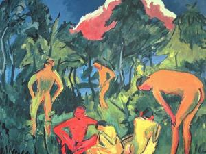 Nudes in the Sun, Moritzburg by Ernst Ludwig Kirchner