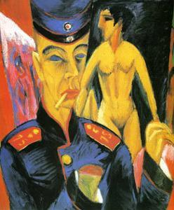 Self-Portrait as a Soldier, c.1915 by Ernst Ludwig Kirchner