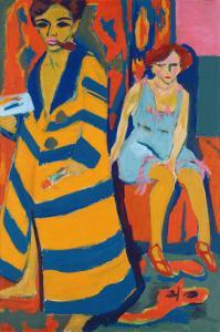 Self Portrait with a Model, 1907 by Ernst Ludwig Kirchner