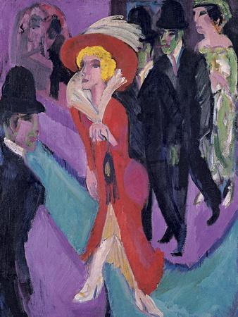 Street with Red Streetwalker, 1914-1925