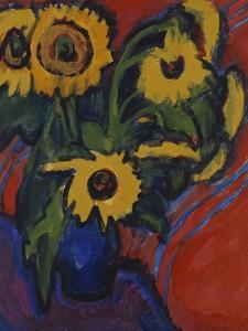 Sunflowers; Sonnenblumen by Ernst Ludwig Kirchner