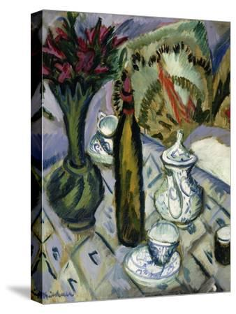 Teapot, Bottle and Red Flowers; Teekanne, Flasche Und Rote Blumen, 1912