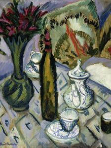 Teapot, Bottle and Red Flowers; Teekanne, Flasche Und Rote Blumen, 1912 by Ernst Ludwig Kirchner