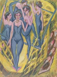 Trapeze Artists in Blue, 1914 by Ernst Ludwig Kirchner