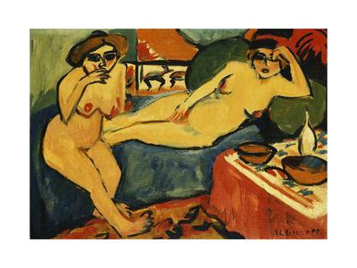 Two Nudes on a Blue Sofa