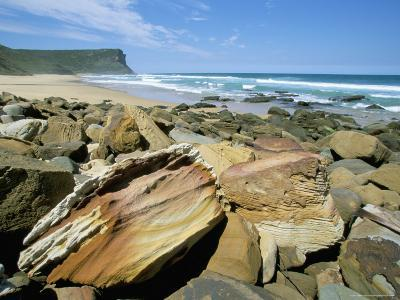 Eroded Sandstone Boulders at Garie Beach in Royal National Park, New South Wales, Australia-Robert Francis-Photographic Print