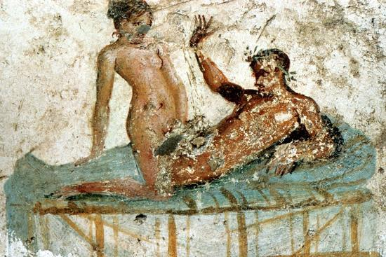 Erotic mural, Pompeii, Italy. Artist: Unknown-Unknown-Giclee Print