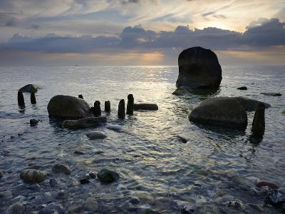 Erratic Blocks at Sunrise, National Park Jasmund, Island RŸgen, Mecklenburg-West Pomerania, Germany-Andreas Vitting-Photographic Print