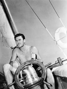 Errol Flynn Relaxing on His Yacht, October 20, 1937
