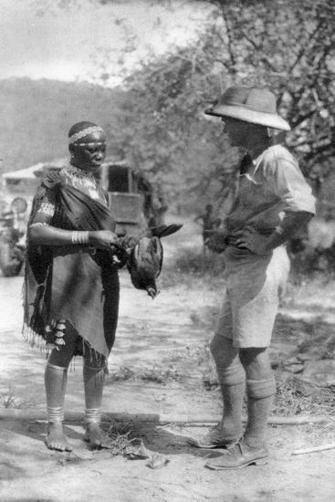 Errol Hinds Making a Deal in Chickens, Wankie to Victoria Falls, Southern Rhodesia, 1925-Thomas A Glover-Giclee Print