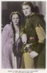 "Erroll Flynn as Robin and Olivia de Havilland as Maid Marian in ""The Adventures of Robin Hood"" 1938"