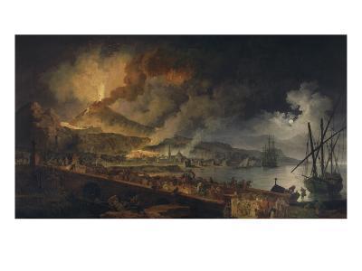 Eruption du Vésuve et vue de Portici-Pierre Jacques Volaire-Giclee Print