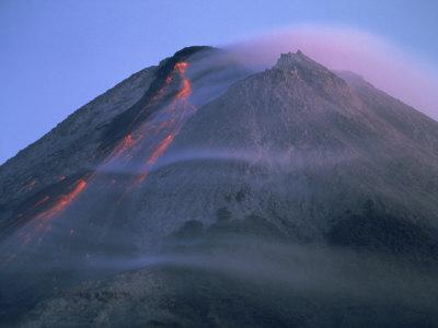 Eruption of gunung merapi a highly active volcano near yogyakarta