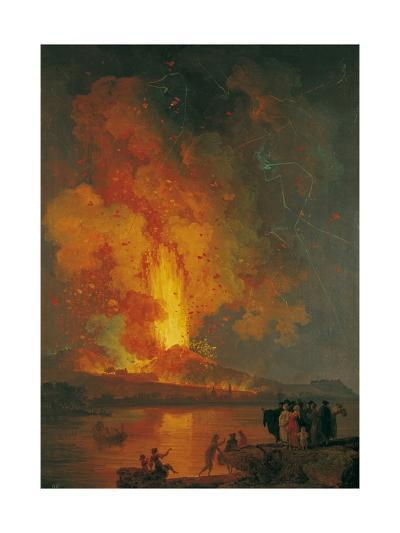 Eruption of Vesuvius, Pierre-Jacques Volaire, 18th C. People Watch from across Gulf of Naples-Pierre-Jacques Volaire-Giclee Print
