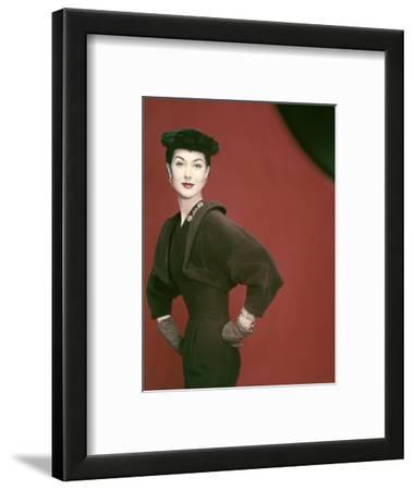 Model Nancy Berg Wearing a Brown Velvety Wool Dress by Adele Simpson