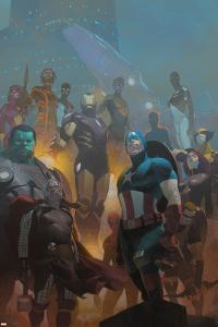 Avengers #24 Cover: Wolverine, Black Widow, Captain America, Spider-Man, Iron Man, Hulk, Thor by Esad Ribic