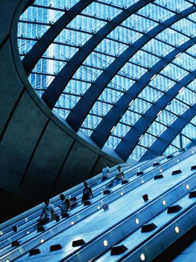 Escalators and Glassed in Roof at Canary Wharf Underground Station, London, England-Neil Setchfield-Photographic Print
