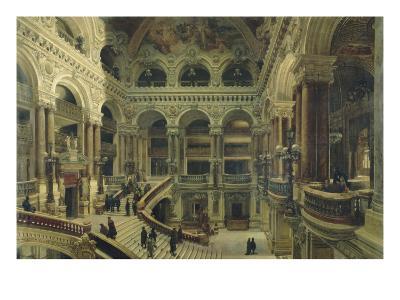 Escalier de l'Opéra à Paris-Victor Navlet-Giclee Print