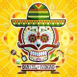 Dia De Los Muertos Day of the Dead Skull-escova-Art Print