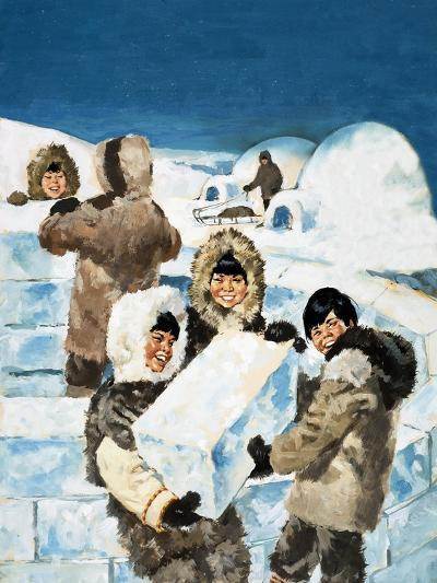 Eskimo Boys Building an Igloo--Giclee Print