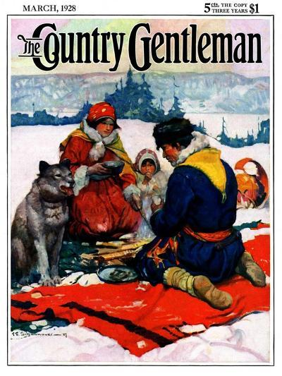 """""""Eskimo Family Meal,"""" Country Gentleman Cover, March 1, 1928-Frank Schoonover-Giclee Print"""