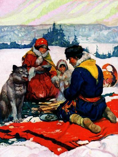 """""""Eskimo Family Meal,""""March 1, 1928-Frank Schoonover-Giclee Print"""